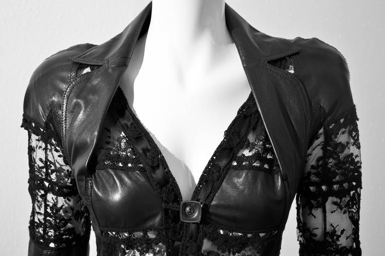 """2000 John Galliano for Christian Dior Hot Black Leather and Lace """"Bar Jacket""""  2"""