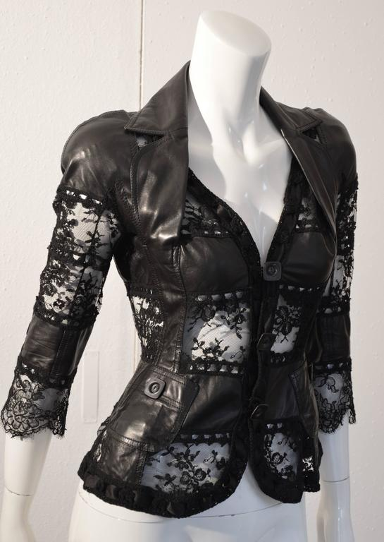 """2000 John Galliano for Christian Dior Hot Black Leather and Lace """"Bar Jacket""""  3"""