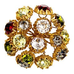 Stunning Oversize Austrian Crystal Brooch