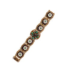 Fabulous Austro Hungarian Enamel, Onyx and Glass Cabochon Bracelet