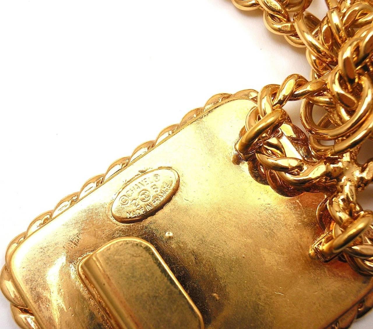 CHANEL Vintage French Signature Black Leather Belt Buckle Belt 6