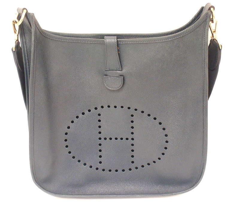 HERMES Evelyne GM Navy Blue Epsom Leather Shoulder Bag 1997 For ...