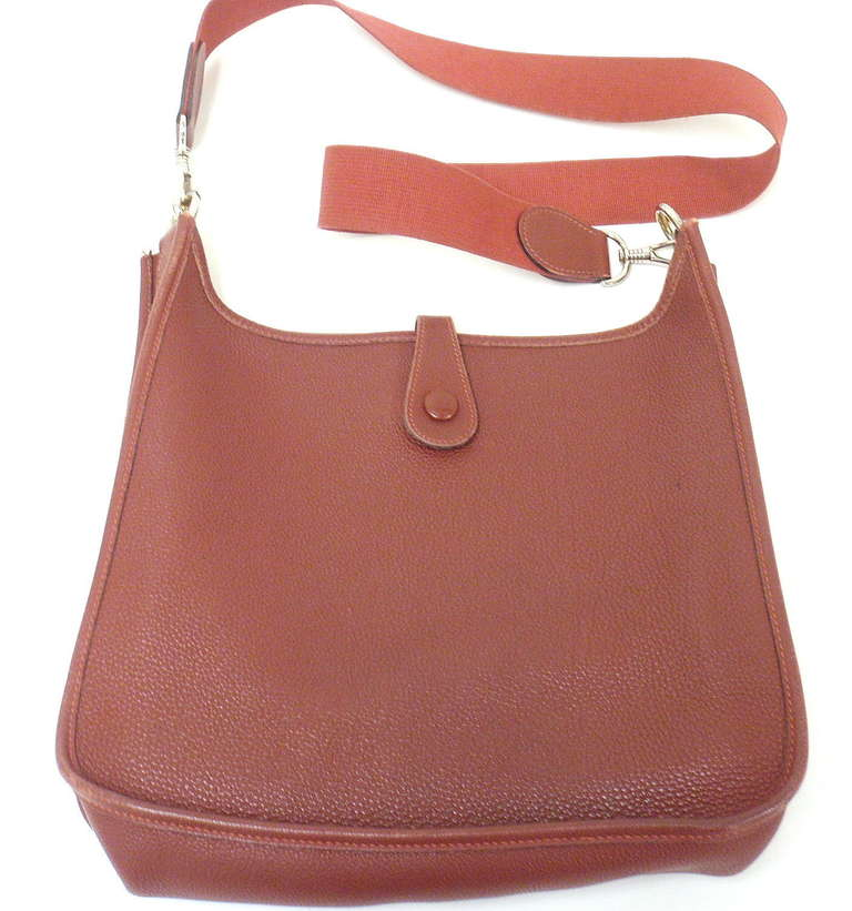 Brown Hermes Evelyne PM burgundy wine leather SHW shoulder bag, 2001 For Sale