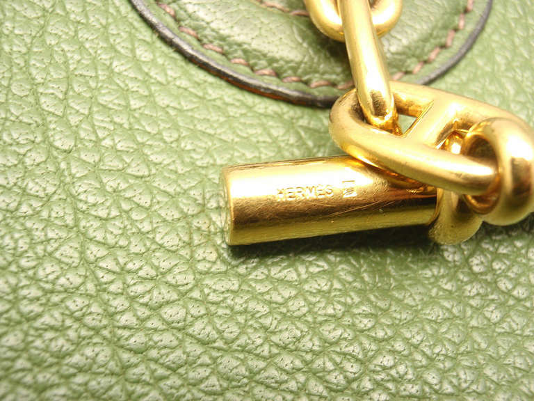 Hermes Vespa MM Vert Anis Clemence leather GWH shoulder bag, 2000 6