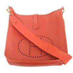 Hermes Evelyne GM red Epsom leather GHW shoulder bag, 1994