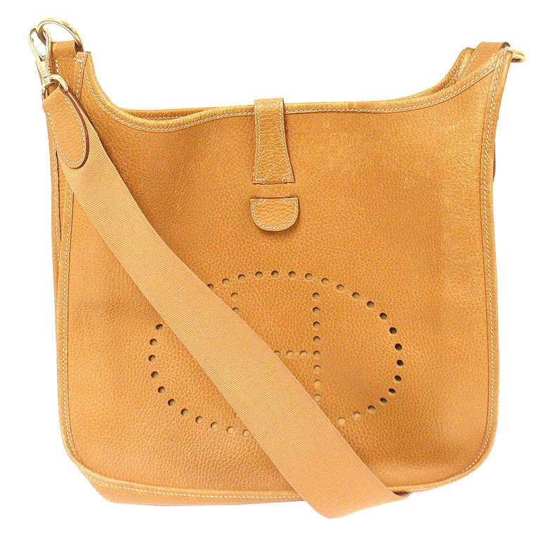 e837c784e4f Hermes Evelyne GM gold Clemence leather GHW shoulder bag, 1998 For Sale