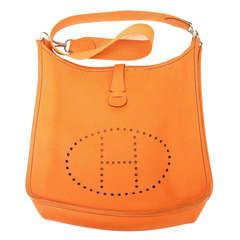 Hermes Evelyne GM orange Clemence leather SHW shoulder bag, 2002