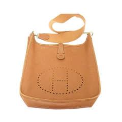 Hermes Evelyne GM natural tan Epsom leather shoulder bag, 1996 OK condition