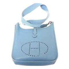 Hermes Evelyne PM blue jean Epsom leather SHW shoulder bag, 2005