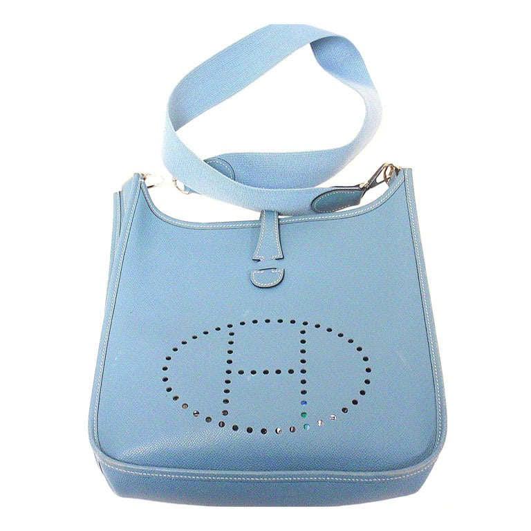 Hermes Evelyne PM blue jean Epsom leather SHW shoulder bag, 2005