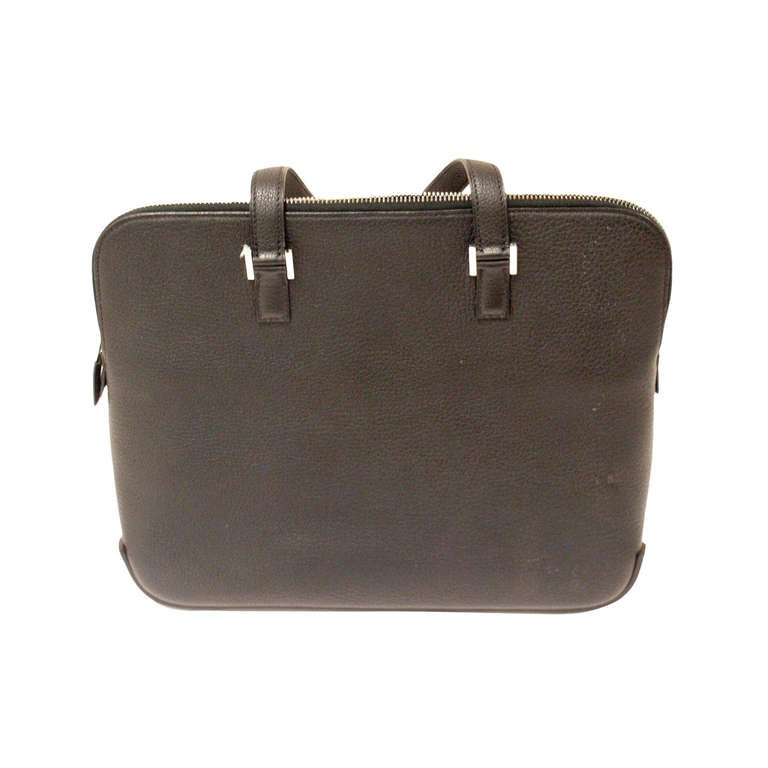 HERMES Escapade Black Chevre Leather Palladium Hardware Handbag