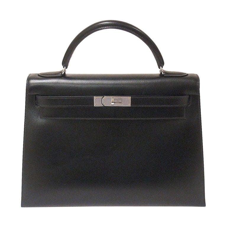 HERMES KELLY 32cm Black Box Calf Silver Hardware Strap Handbag For Sale