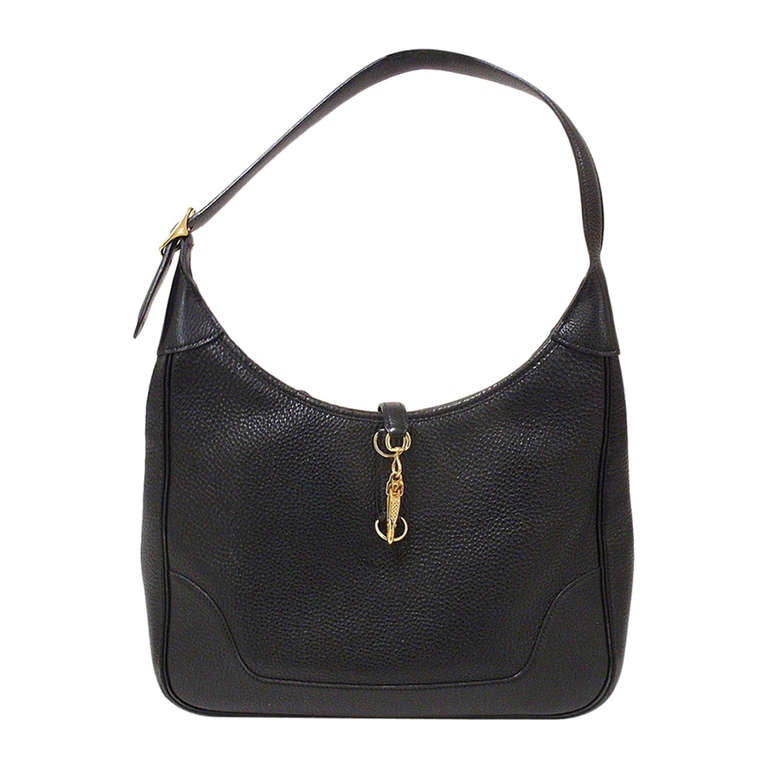 HERMES Trim 31cm Black Taurillon Clemence Leather Shoulder Bag For Sale