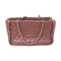 CHANEL Istambul Stich Logo Open Shoulder Tote Burgundy Leather Handbag, 2012