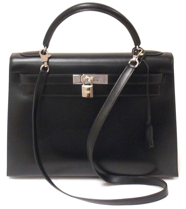 HERMES KELLY 32cm Black Box Calf Silver Hardware Strap Handbag 9