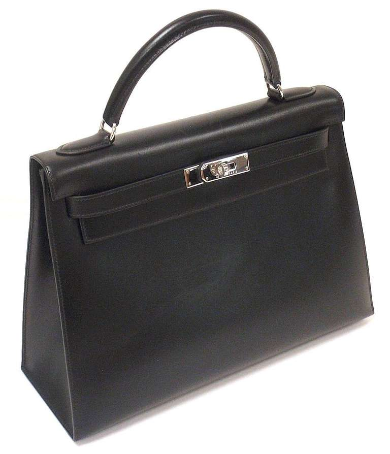 HERMES KELLY 32cm Black Box Calf Silver Hardware Strap Handbag 2