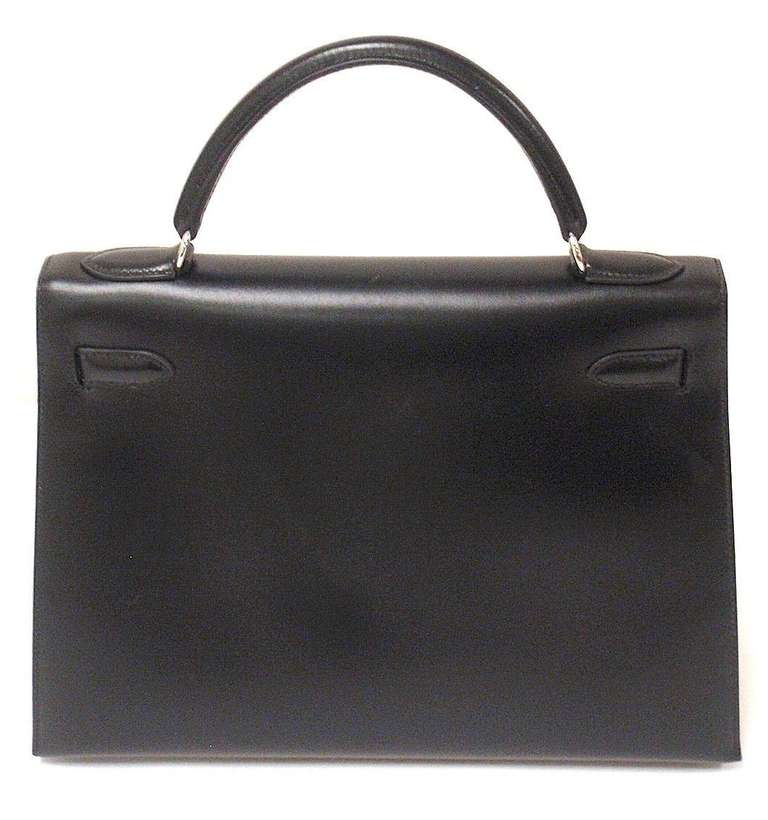 HERMES KELLY 32cm Black Box Calf Silver Hardware Strap Handbag 3