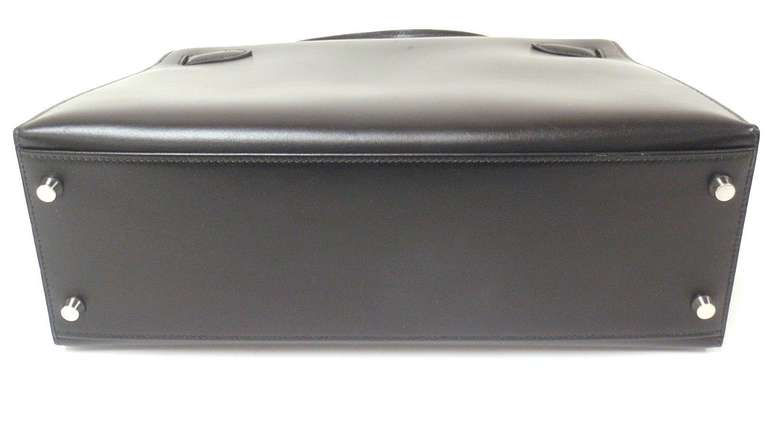 HERMES KELLY 32cm Black Box Calf Silver Hardware Strap Handbag 4