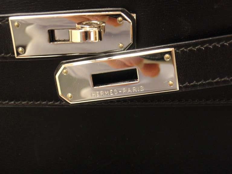 HERMES KELLY 32cm Black Box Calf Silver Hardware Strap Handbag 5