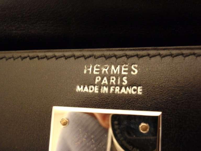HERMES KELLY 32cm Black Box Calf Silver Hardware Strap Handbag 6