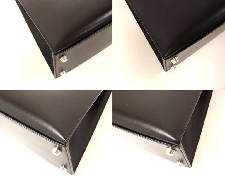 HERMES KELLY 32cm Black Box Calf Silver Hardware Strap Handbag For Sale 4