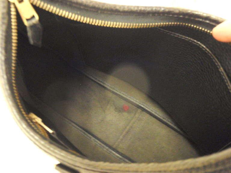 HERMES Trim 31cm Black Taurillon Clemence Leather Shoulder Bag For Sale 3
