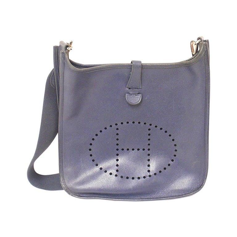 HERMES Evelyne PM Navy Epsom Leather SHW Shoulder Bag, 2006 For Sale
