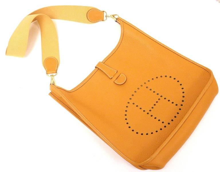 Women's HERMES Evelyne GM Mustard Yellow Clemence GHW Shoulder Bag, 2002