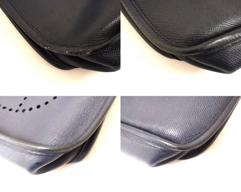 HERMES Evelyne PM Navy Epsom Leather SHW Shoulder Bag, 2006 For Sale 4