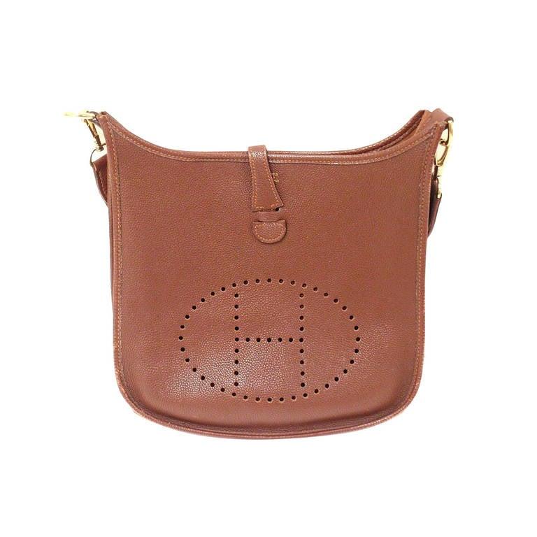 Hermes Evelyne PM Brownish Red Epsom Leather GHW Shoulder Bag, 2002