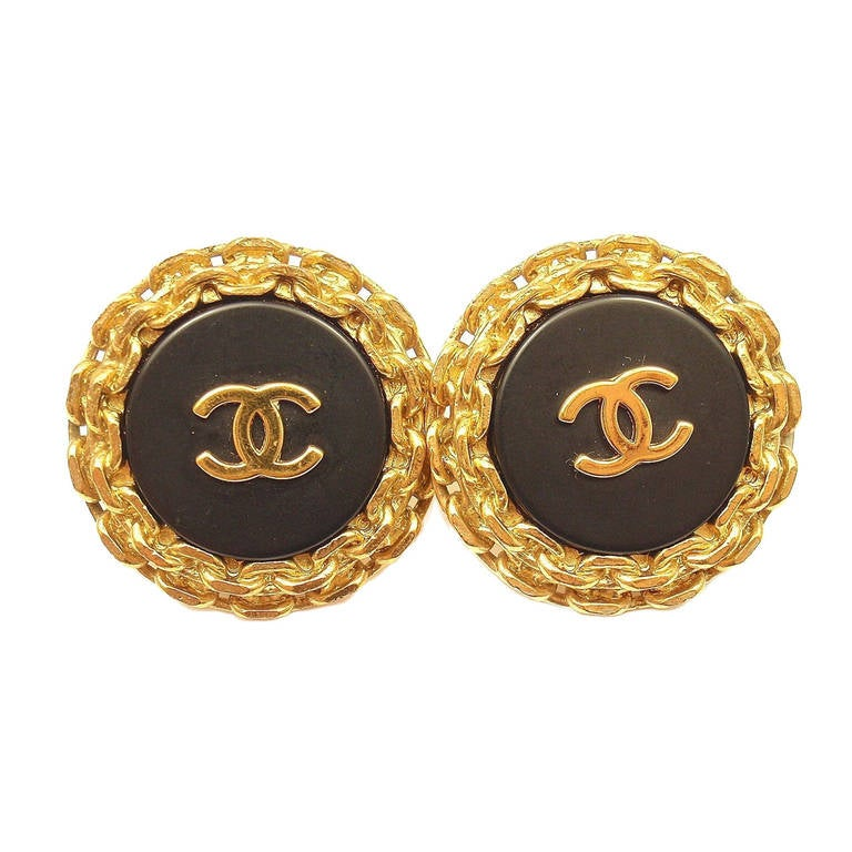 9e9ee8f201bec Chanel Vintage Extra Large Gold Tone Logo Black Chain Clip-On Earrings