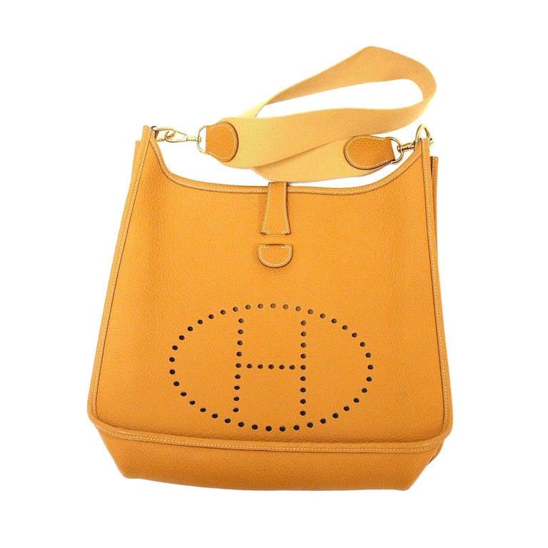 HERMES Evelyne GM Mustard Yellow Clemence GHW Shoulder Bag, 2002