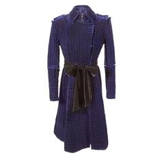Tom Ford for Yves Saint Laurent Fall 2002 Quilted Blue Silk Velvet Coat