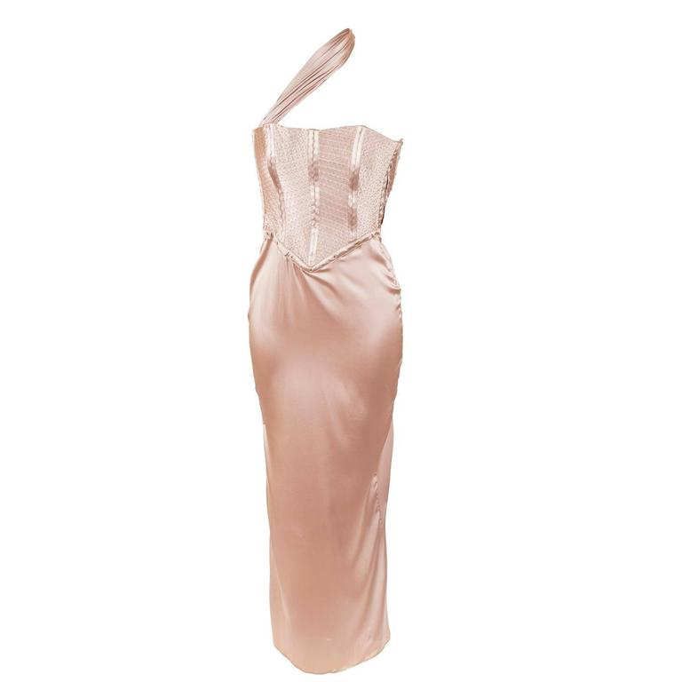 Tom Ford for Gucci Fall 2003 Champagne Silk Jersey Corset Gown size 38 1