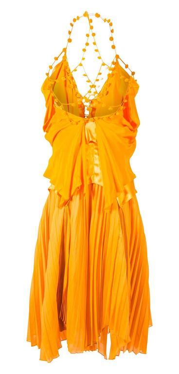 Tom Ford for Yves Saint Laurent Spring 2004 RTW Orange Silk top and skirt set 2