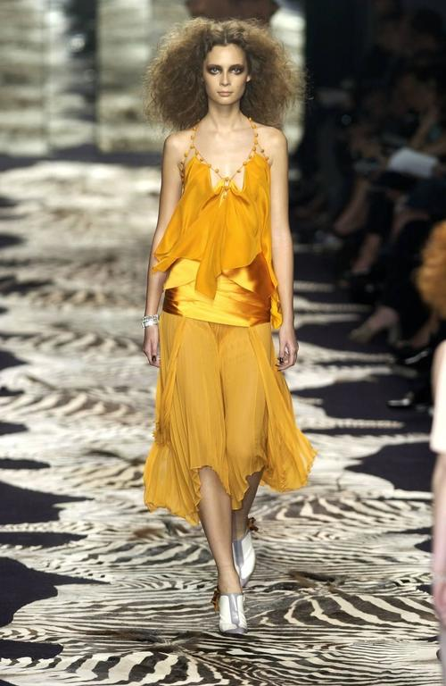 Tom Ford for Yves Saint Laurent Spring 2004 RTW Orange Silk top and skirt set 4