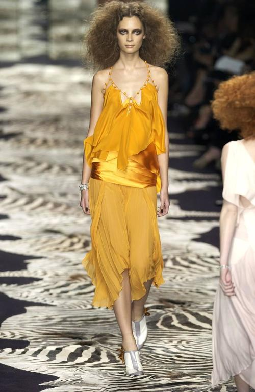 Tom Ford for Yves Saint Laurent Spring 2004 RTW Orange Silk top and skirt set 5
