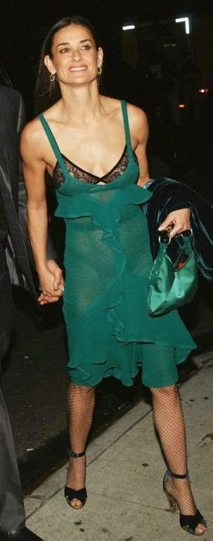 Tom Ford for Yves Saint Laurent Fall 2003 Emerald Silk Ruffle Dress Demi Moore 6