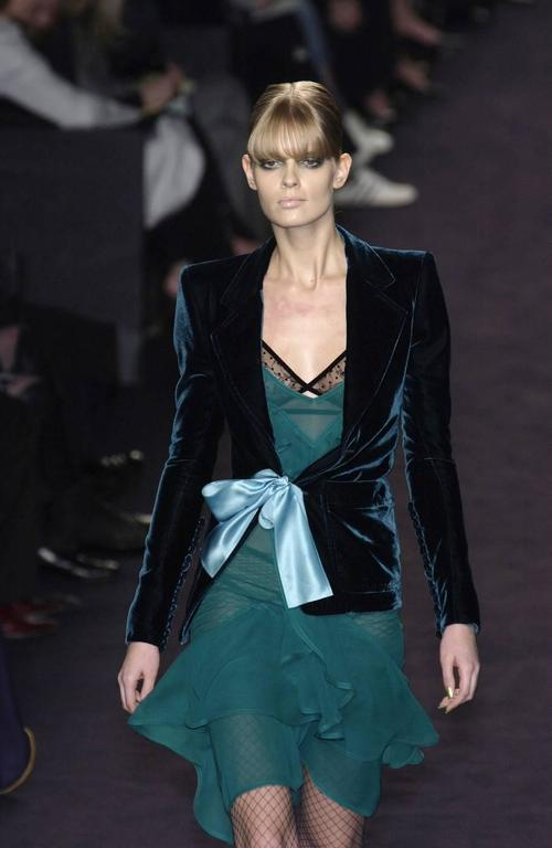 Tom Ford for Yves Saint Laurent Fall 2003 Emerald Silk Ruffle Dress Demi Moore 3