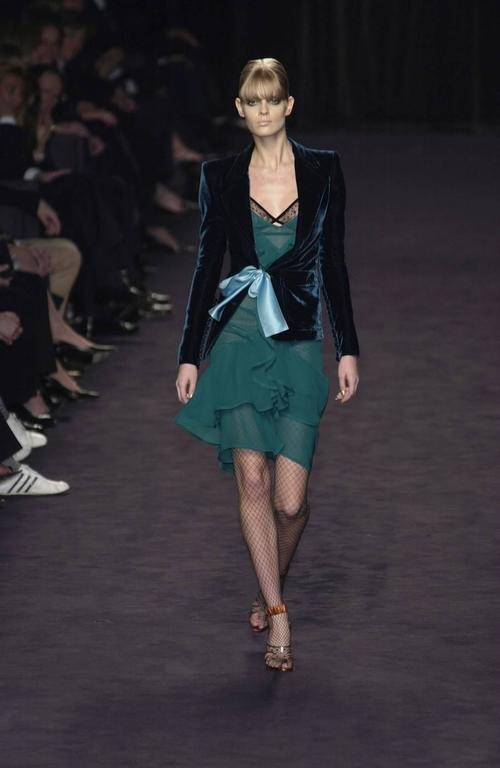 Tom Ford for Yves Saint Laurent Fall 2003 Emerald Silk Ruffle Dress Demi Moore 4