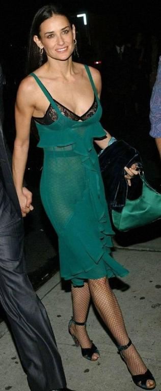 Tom Ford for Yves Saint Laurent Fall 2003 Emerald Silk Ruffle Dress Demi Moore 5