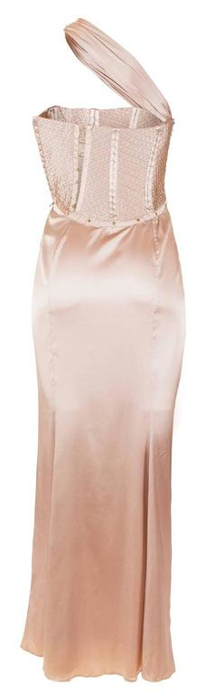 Tom Ford for Gucci Fall 2003 Champagne Silk Jersey Corset Gown size 38 2