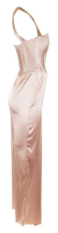 Tom Ford for Gucci Fall 2003 Champagne Silk Jersey Corset Gown size 38 3
