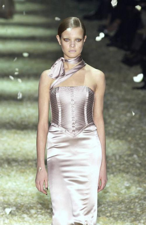 Tom Ford for Gucci Fall 2003 Champagne Silk Jersey Corset Gown size 38 5