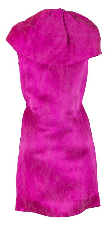 Alber Elbaz for Lanvin Fall 2007 RTW Fuchsia Silk Dress with Ruffle  2