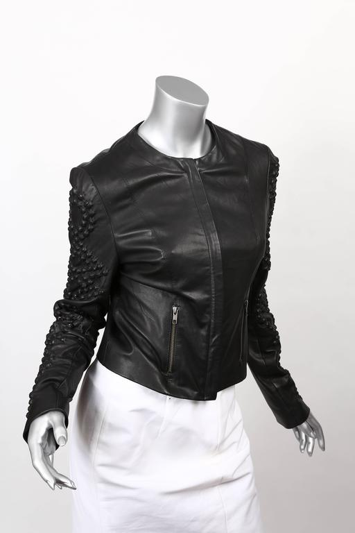 Givenchy Black Leather Crystal Studded Jacket 2