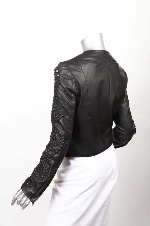 Givenchy Black Leather Crystal Studded Jacket 3