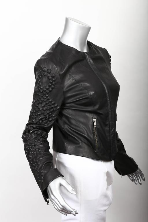 Givenchy Black Leather Crystal Studded Jacket 4