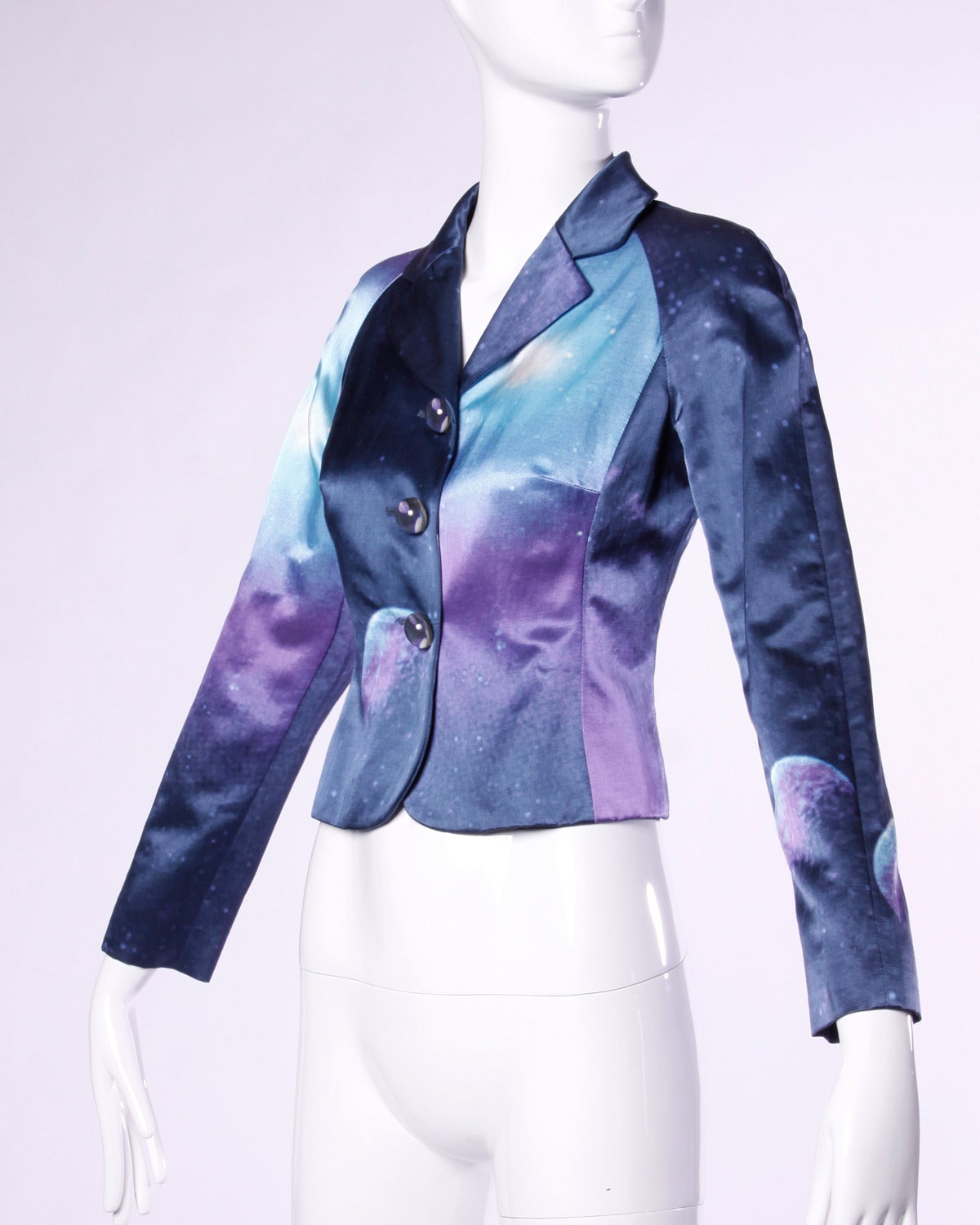 Moschino Vintage 1990s 90s Galaxy Print Jacket with Outer Space Moon Buttons 3