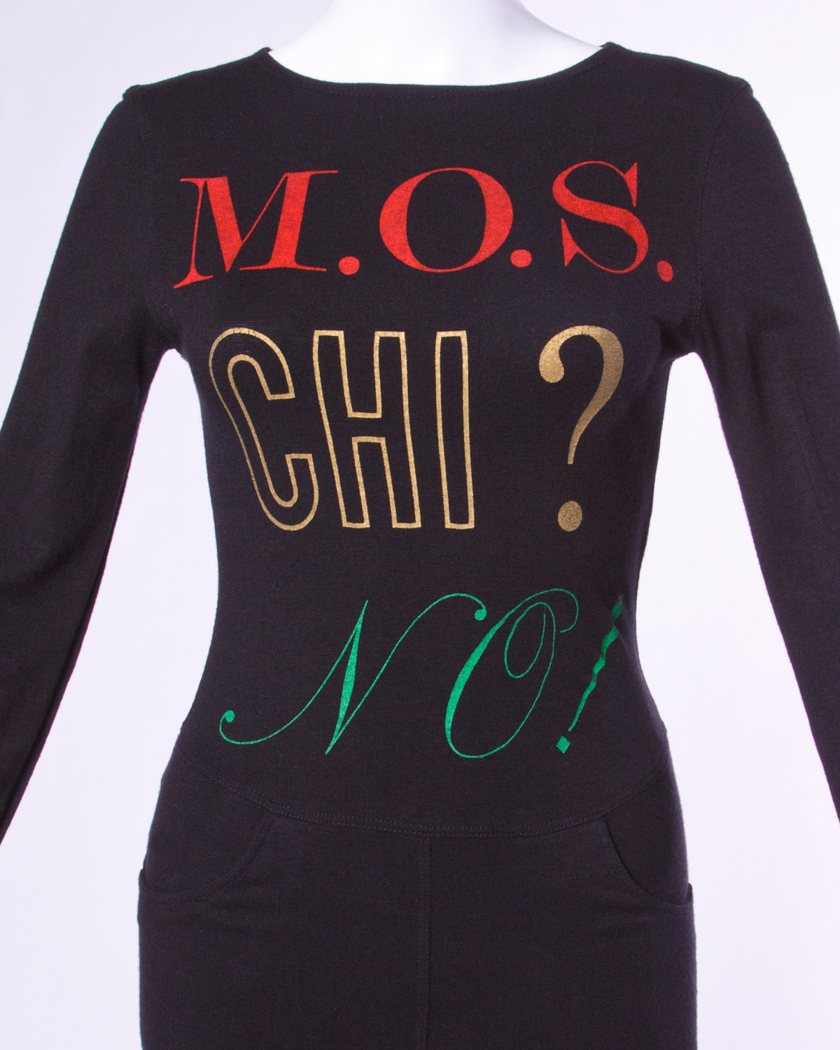 "Moschino Vintage 1990s 90s Graphic ""M.O.S. CHI? NO!"" Shirt Dress 2"